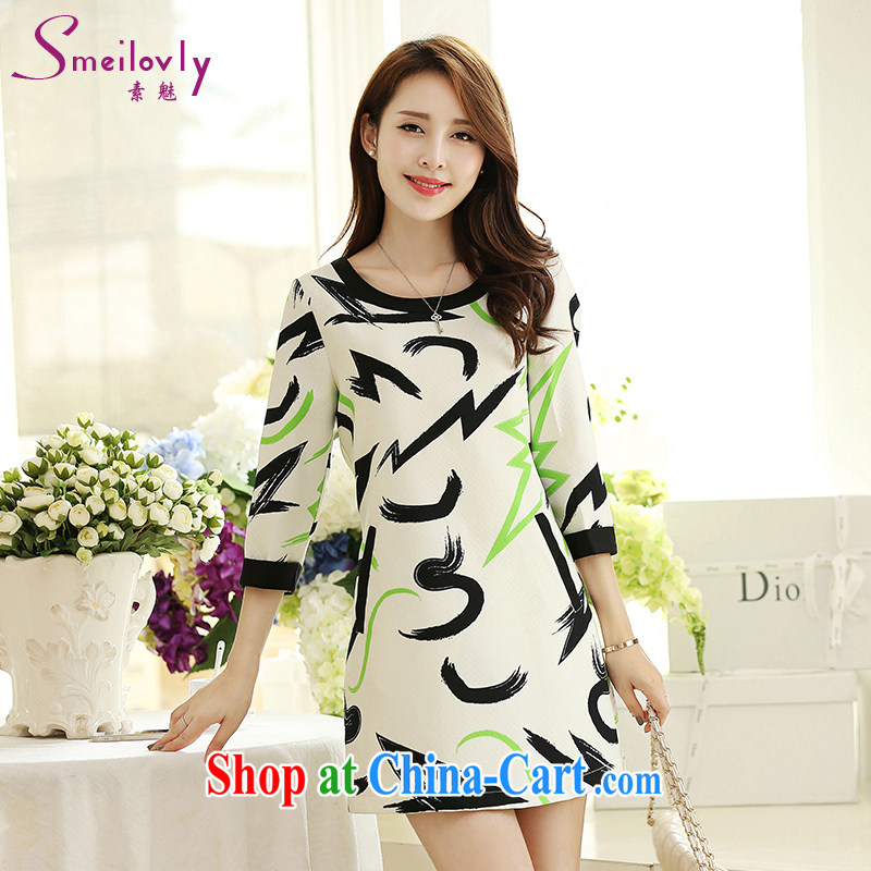 Staff of the fertilizer XL women mm thick load fall 2014 new Korean version 7 cuff stamp beauty graphics thin dresses S 2661 photo color 3XL