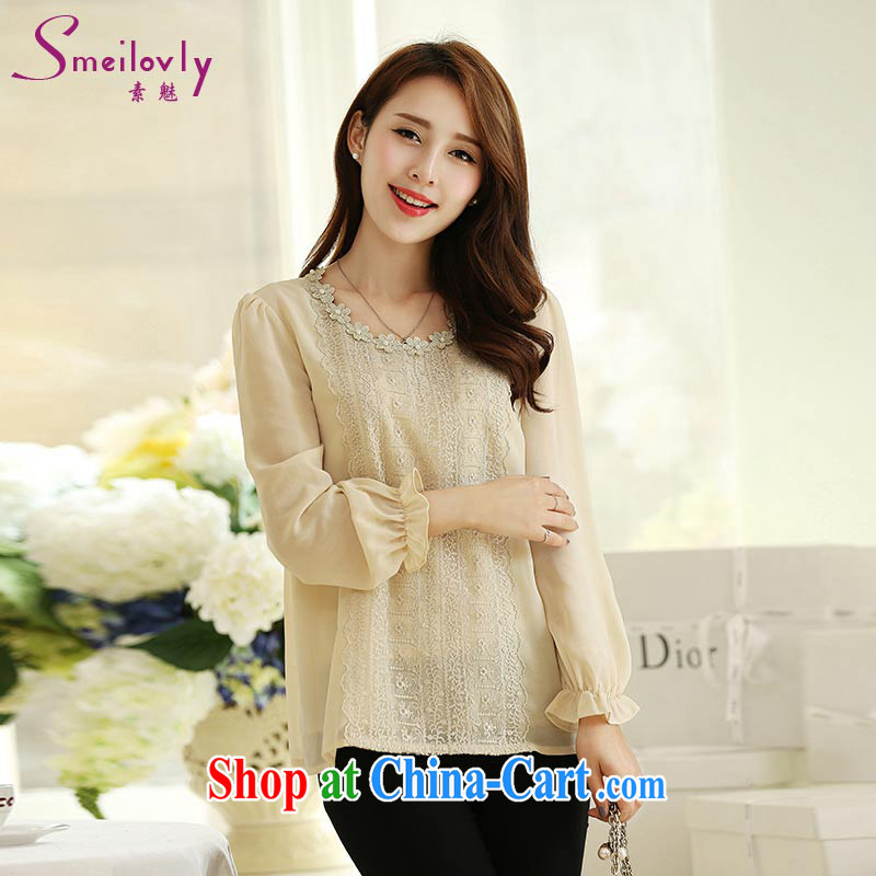 Staff of the fertilizer XL women mm thick load fall 2014 new stylish shirt long-sleeved lace-thick snow sister T woven shirts S 1692 card the color 5 XL