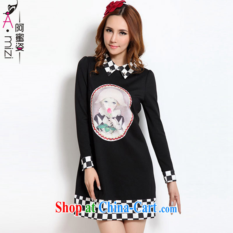 The honey beauty mm thick larger female sweet beauty nails Pearl lapel graphics thin long-sleeved new Autumn with dress 3109 black XXXL