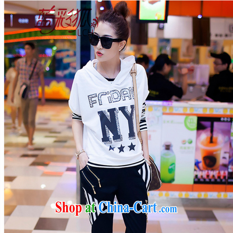 Blue Fox fall with new, larger style Korean cap stamp long-sleeved sweater Sports Package loose video thin leisure 3 piece white XXL
