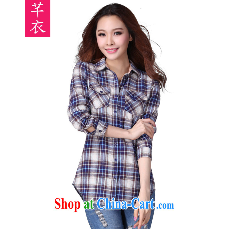 Constitution and clothing increased, indeed, female 2015 spring new thick mm and indeed long-sleeved T-shirt, thick clothes fashion in Europe and America, in dry Turkey tartan shirt blue 3 XL 145 - 160 jack