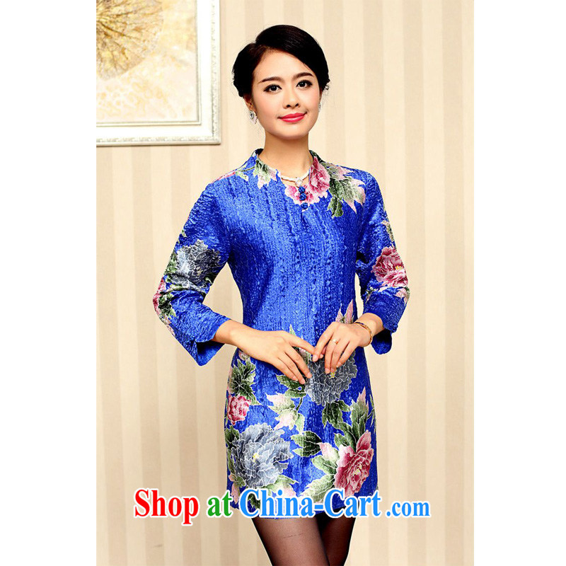 Forest narcissus fall 2015 the new middle-aged and old noble flowers, long Long-Sleeve further skirt-mom with dresses XYY - 8329 blue XXXXL