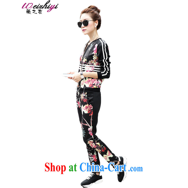 Ms Audrey EU's clothing 2015 New Spring Kit female Ethnic Wind rich Peony stamp sport and leisure package girls long-sleeved sweater two-piece fitness clothing stamp M