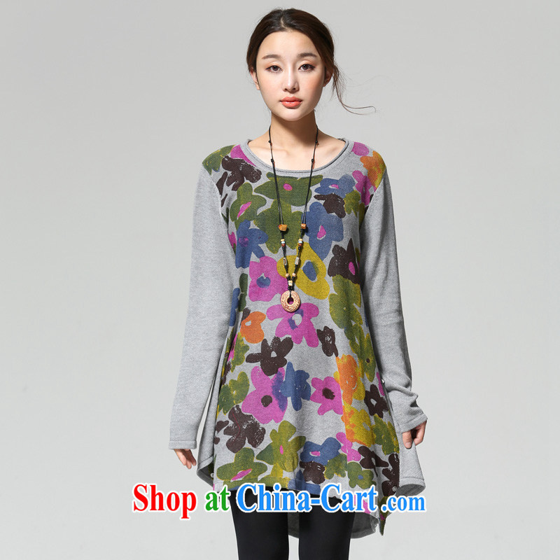 for Elizabeth's clothing larger female literary and artistic temperament color stamp duty for pure cotton long-sleeved knit shirts sweaters QJY 3012 gray flowers are code