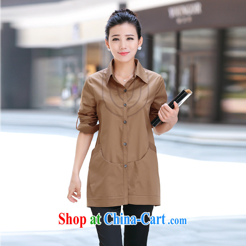 Day line and 2014 winter new stylish large number, older, casual loose ground 100 comfortable long-sleeved T-shirt the T-shirt elegant shirt card its color XL