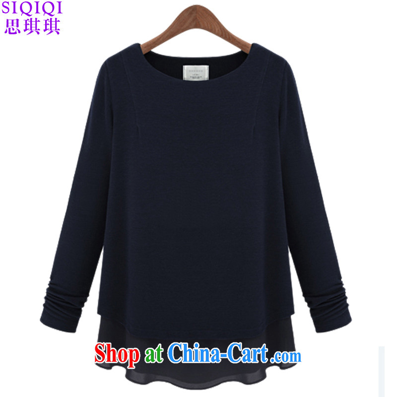The Qi Qi _SIQIQI_ Spring 2015 new in Europe and the Code women snow cotton woven stitching solid long-sleeved shirt T female TX 1018 black 5 XL