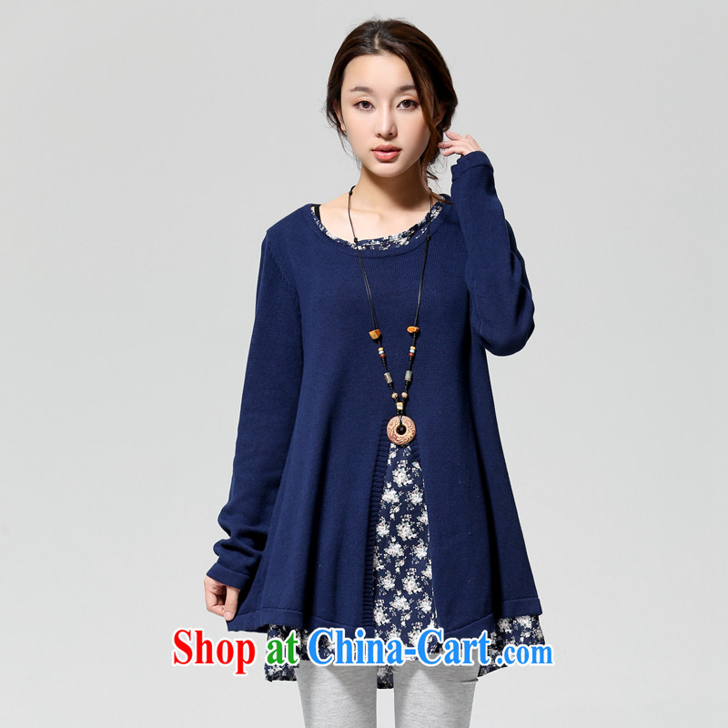 To Yi Sha 2014 autumn and winter, the larger female floral cotton stitching leave two long, knitted shirts sweaters QJY 8086 blue are code