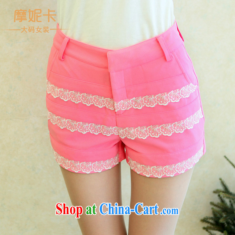 The fat XL women mm thick load fall 2014 Korean version of the new graphics thin pants lace stitching shorts girls pink XXXXL