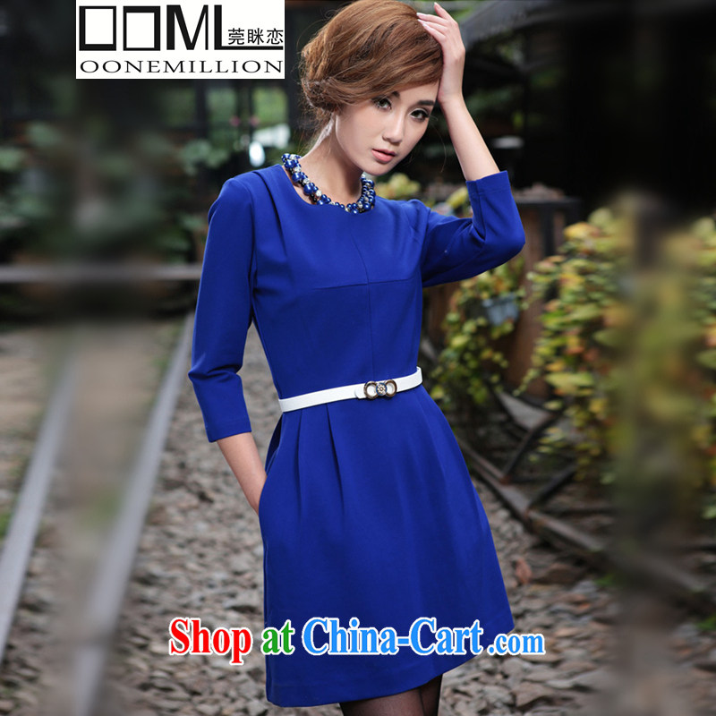agreement, 2015 spring new women in Europe and America, high-end Custom Star with cultivating a large, female 7 cuff dress loose blue XXXL