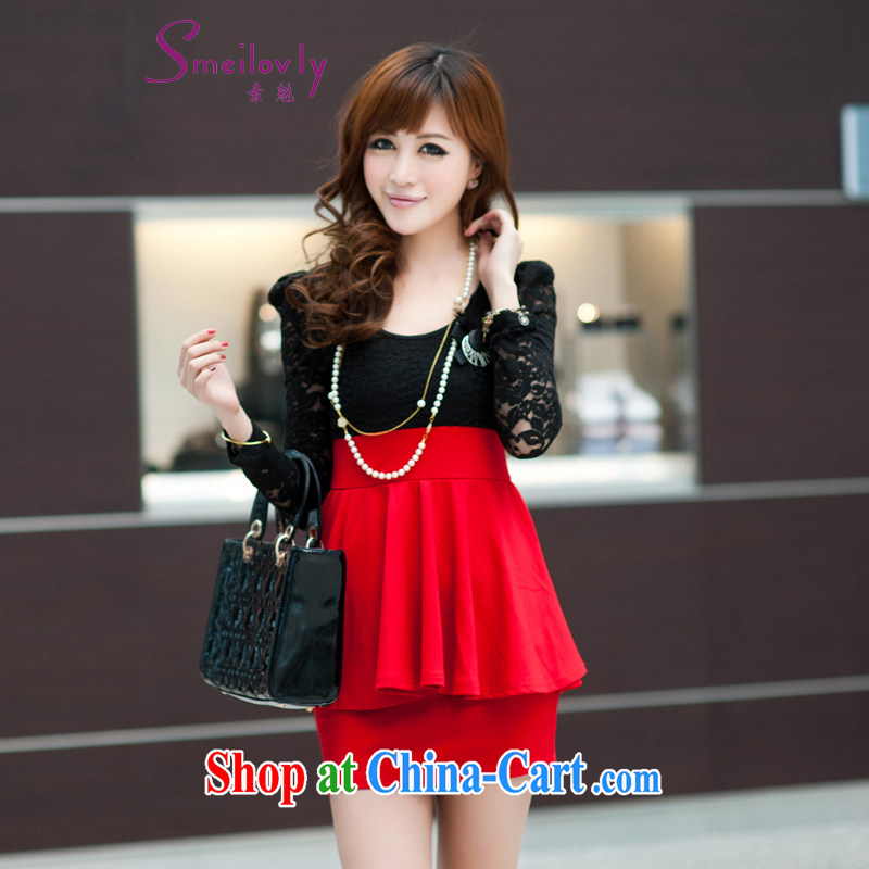 Staff of the fertilizer XL video Thin women mm thick 2015 spring loaded Korean Beauty long-sleeved package and lace-yi skirt 2785 red 6 XL