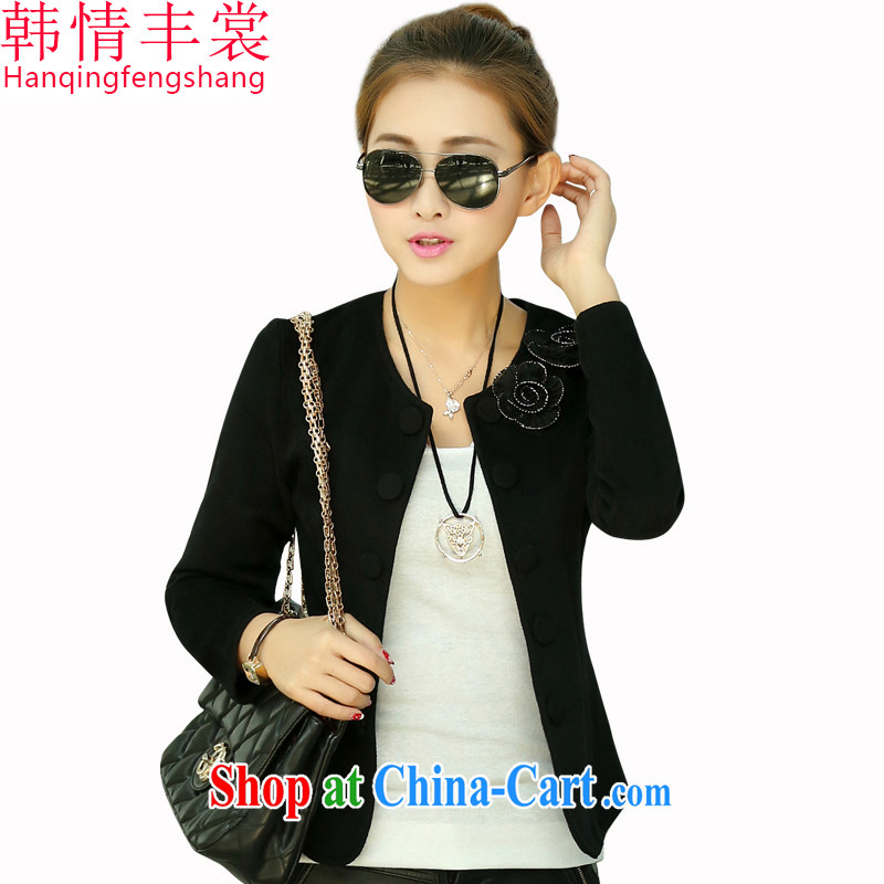 Korea and Hongkong advisory committee spring 2015 the code female and indeed increase new Korean small jacket and indeed XL knit-double-short jacket, 888 female black 2 XL