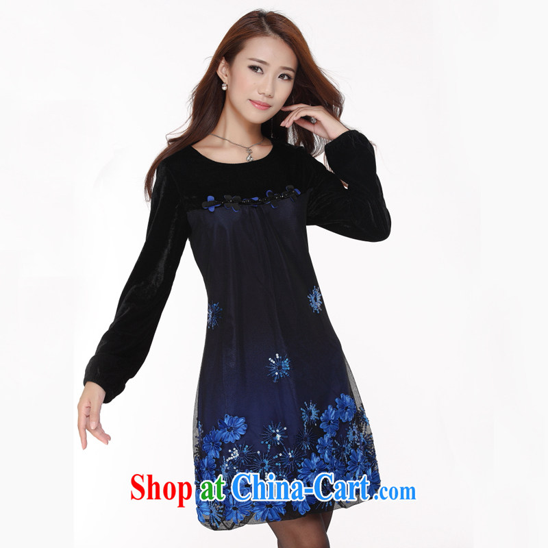 The Code women mm thick Autumn with new 2014 Korean fashion relaxed Tibetan meat in Europe and long-sleeved video thin dresses - YY 2105 blue XL code