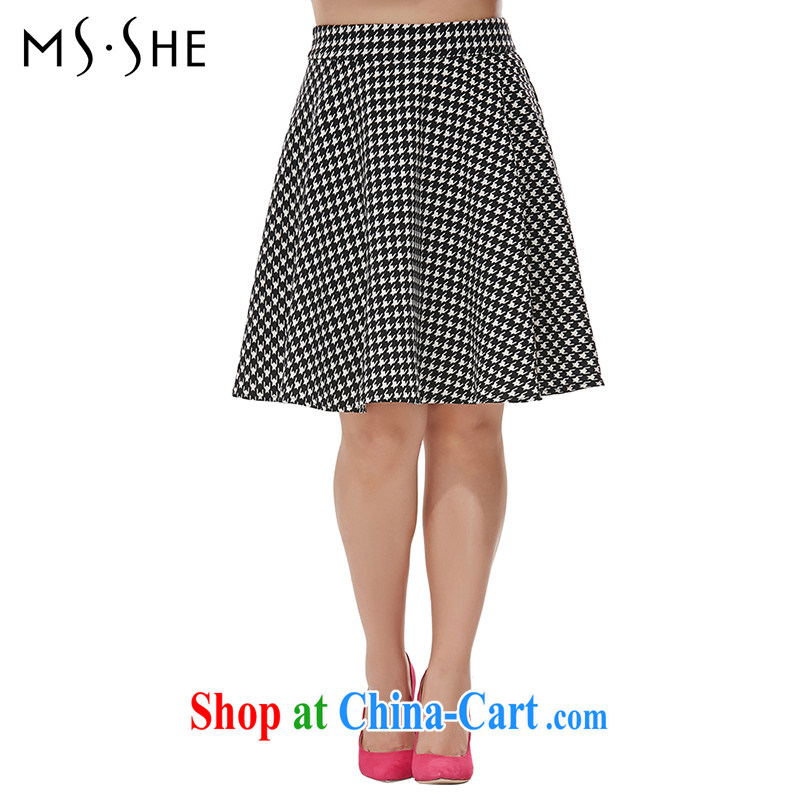 MsShe XL ladies high waist graphics thin 1000 birds, body skirt clearance 7413 black and white T 2