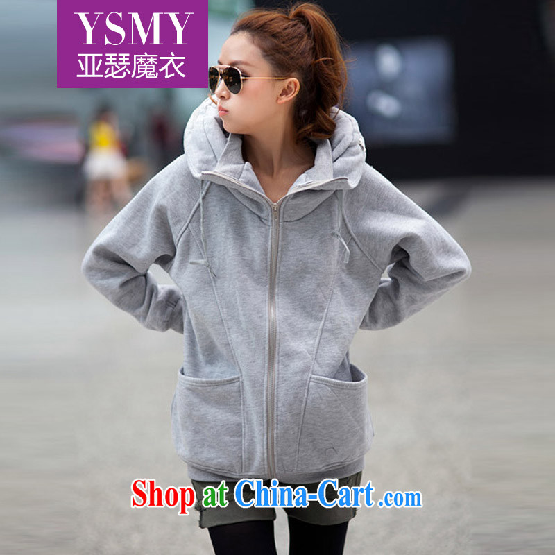 Arthur magic Yi 2015 spring new larger female Korean leisure zip, long, lint-free cloth and a large number who jacket female gray XXL