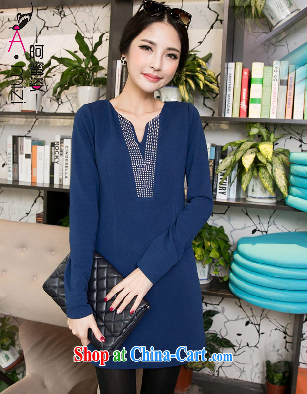 The honey beauty mm thick larger female Korean Beauty commute video thin hot drill and long-sleeved dresses women 8613 dark blue XXXXL