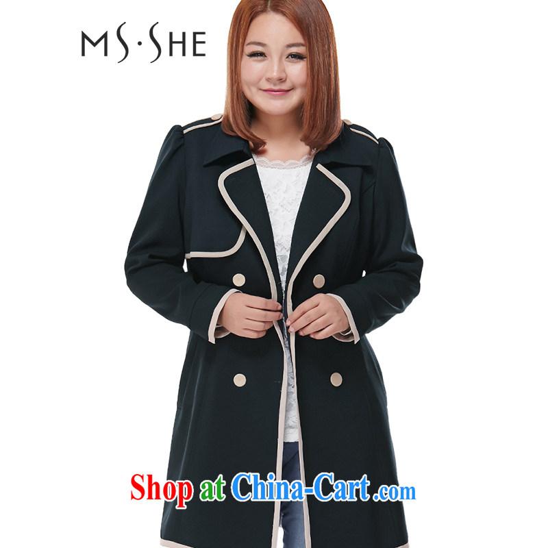 MsShe XL female 2015 lapel, long windbreaker clearance 7635 deep blue 4 XL