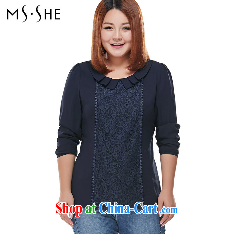 MsShe XL women spring 2015 New Beauty dolls for bubbles snow cuff woven shirts 7751 blue 6 XL