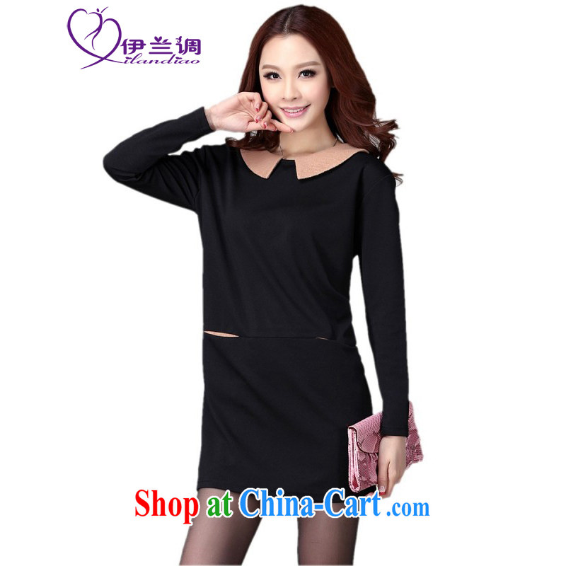 The evaluation focused on the people and, indeed, women 2015 spring new, thick sister long-sleeved loose ground on 100 occupational OL graphics thin knitting commuter dress black large XL 120 - 140 jack