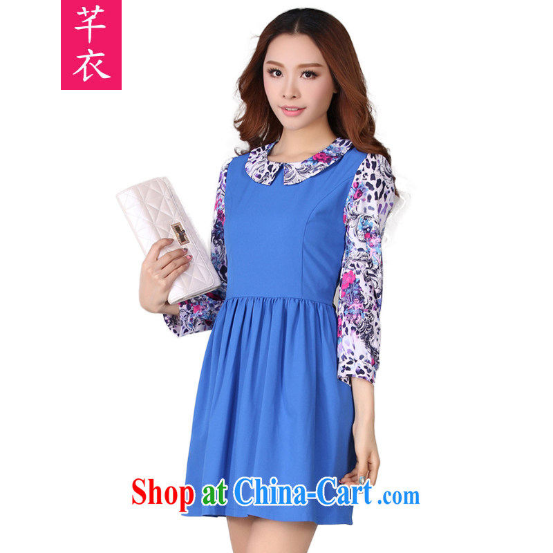Constitution and clothing increased, fat, female Lady style spring new 2015 fancy Korean long-sleeved thick mm fresh lady OL workplace dress royal blue XL 100 - 125 jack