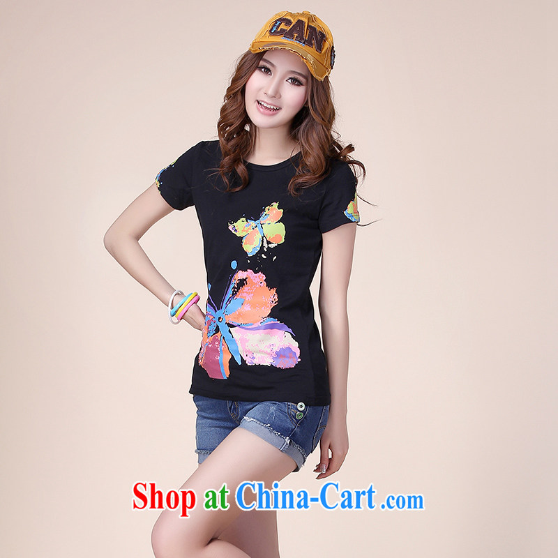 JK .,200 summer new large, female short-sleeve T shirt XL relaxed thick sister leisure T pension Y 13,008 black 4 XL