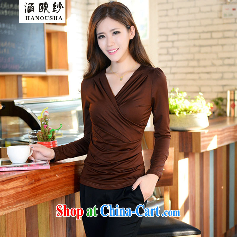 COVERED BY THE 2015 new spring, autumn and the Korean edition Thin women with large numbers of deep sense V collar long-sleeved T-shirt solid shirt T brown shirt XXXL