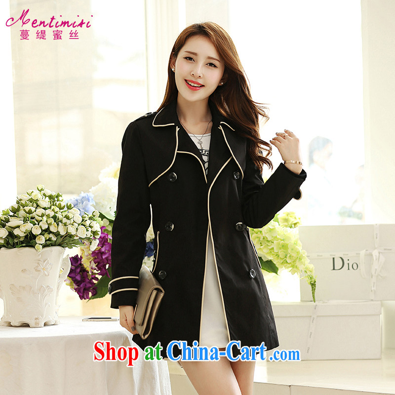 Mephidross has long honey, The 2014 autumn the new thick mm larger female Korean version, long-sleeved wind jacket graphics thin 5030 black large code 5 XL