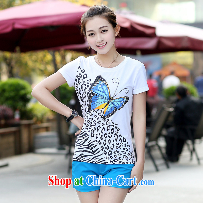 JK .,200 spring and summer King, female Korean short-sleeved T shirts stylish hot drill cultivating increased 05,032 white 3 XL