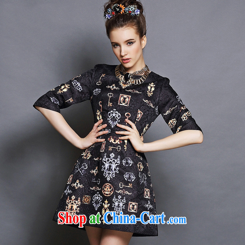 The European site XL girls thick mm autumn skirt with the FAT increase graphics thin thick sister dresses 5 XL Black 5 XL _90 - 100 _ KG
