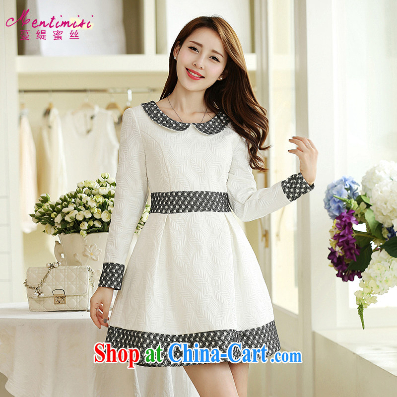 Mephidross economy honey, and indeed increase, female fat mm autumn 2014 the new baby for long-sleeved video thin dresses 2671 large white code 5 XL