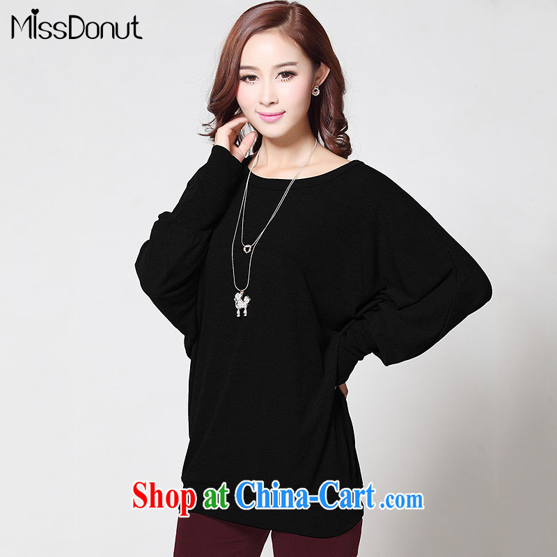 MissDonut fall 2014 with new, larger female and indeed increase Korean version in relaxed long bat T-shirt long-sleeved T shirt black large code XL