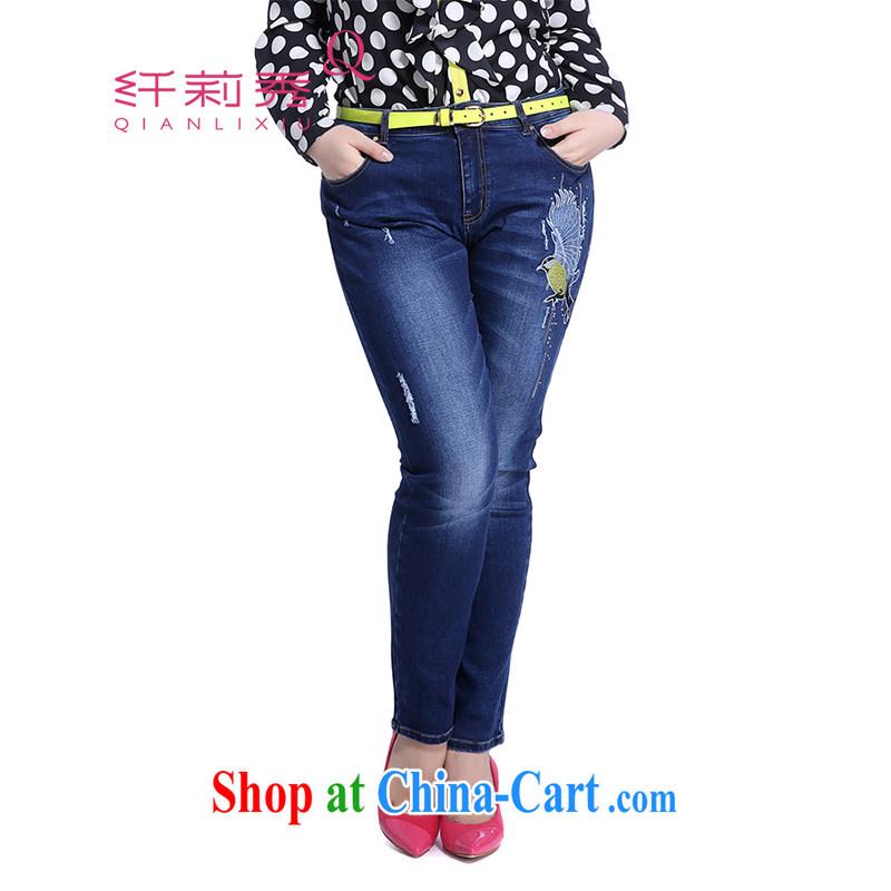 Slim LI Sau 2014 autumn new XL girls thick mm video thin embroidery, cultivating 100 ground Q jeans 5839 denim blue XXXXXL