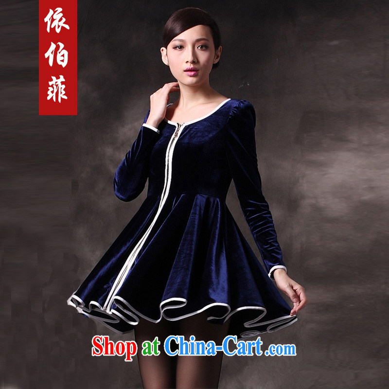 According to the Philippines in Europe and America 2014 autumn and winter, the aura of aristocratic ladies thick MM long-sleeved top, Kim wool solid dresses Y 084 blue 4 XL