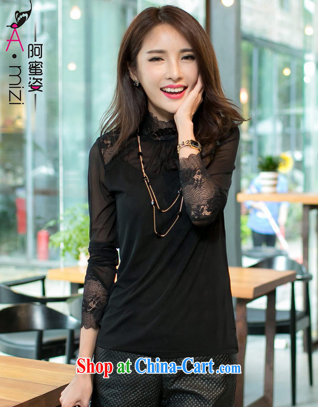 The honey beauty mm thick larger female new fall, the Korean edition black silk ballet by solid long-sleeved T-shirt T shirts women 9043 black XXXL