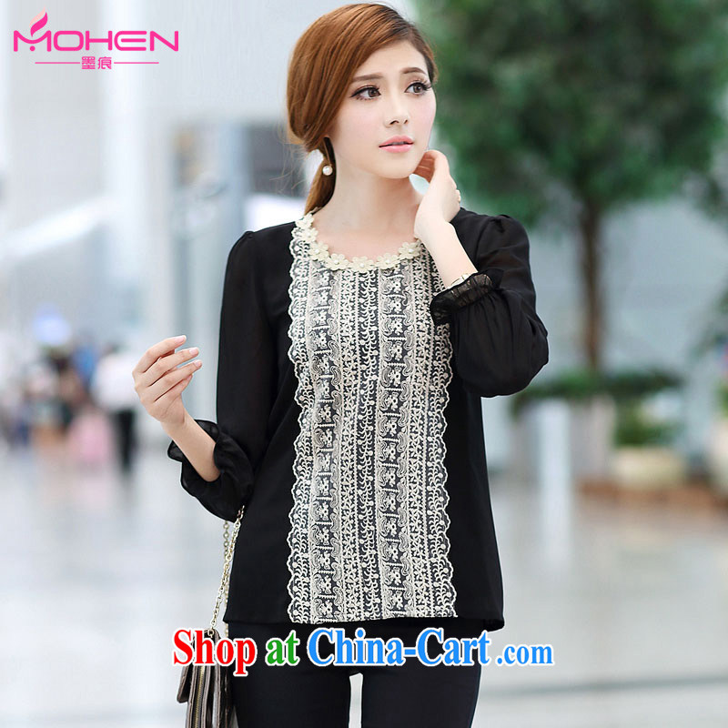 The ink marks autumn 2014 the new Korean version is indeed the XL female graphics thin ice woven T shirt thick mm stylish shirt long-sleeved lace thick sister black 5 XL _suitable for 180 - 200 jack_