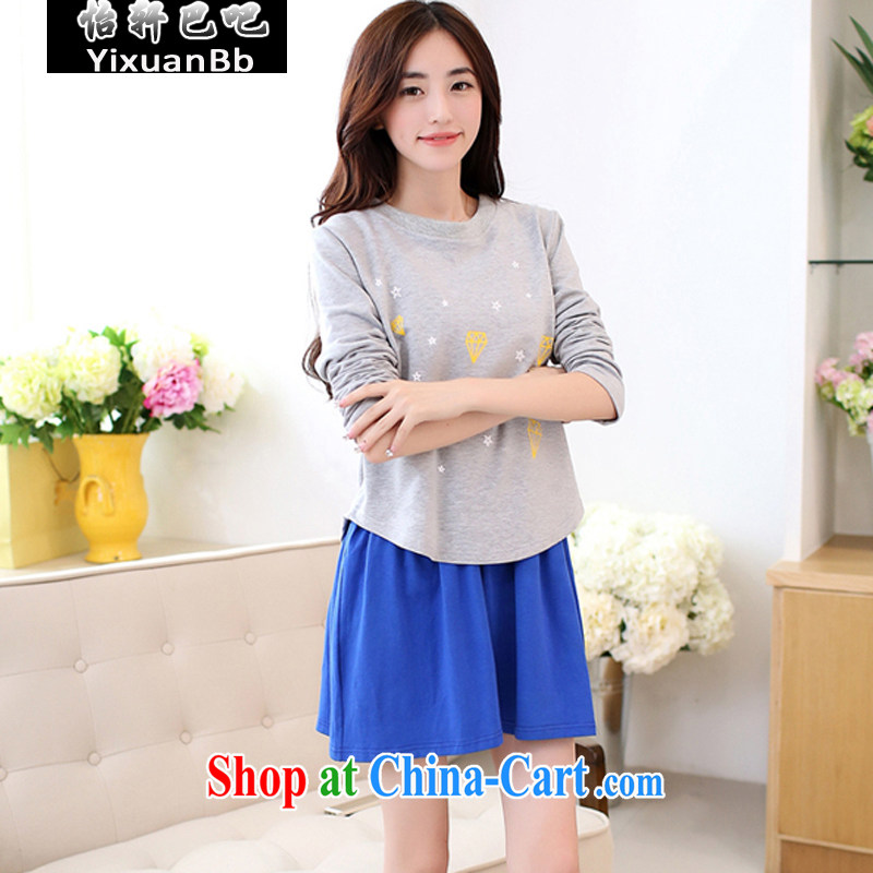 Yi Xuan, and autumn 2014 the new Korean version the code female Two-piece stamp College dresses 5017 gray XXL