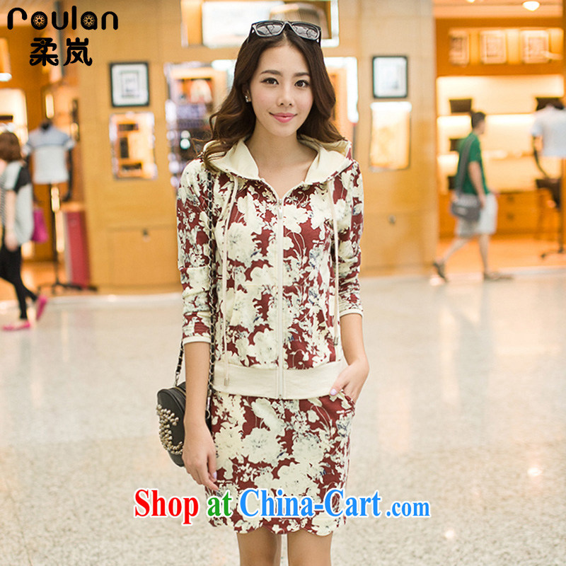 ROULAN/Sophie sponsors 2015 spring loaded, new Korean version of the greater code female thick MM leisure stamp duty, and two-piece fitted dress girls 7118 full flower dates color - Short skirts XXXL
