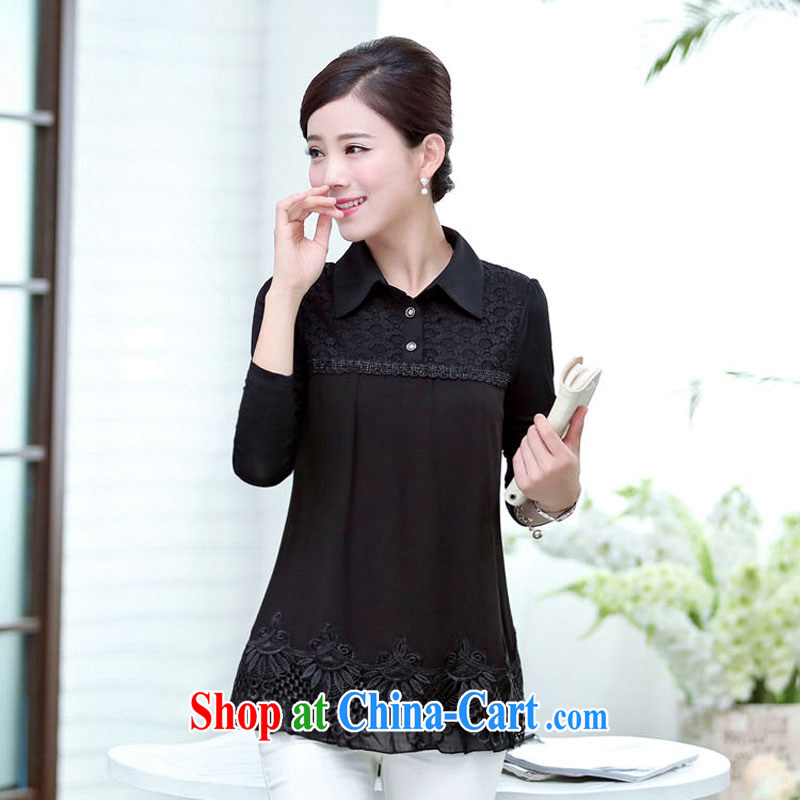 The Hee 2014 spring loaded new long-sleeved Korean lace long-sleeved T-shirt middle-aged ladies shirt MOM T-shirt snow woven shirts black XXXL