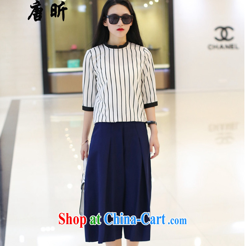 Tang year summer new, larger female Two-piece loose video thin short-sleeved shirt T MM thick snow woven shirt + width and 7 pants white + trousers_1608 2 XL 135 - 145 Jack left and right