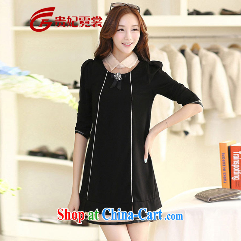 Spring new and indeed increase, long-sleeved dresses upscale liberal Korean king, female fat mm King Size Code 200 Jack video thin dresses A 179 black 4XL