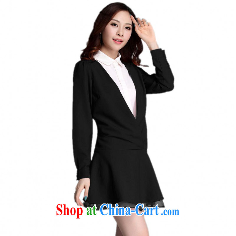 The delivery package as soon as possible e-mail mm thick larger female dresses and indeed graphics thin Korean OL commuter leave of two-piece short skirts stitching long-sleeved Ladies black skirt 4 XL approximately 160 - 175 jack