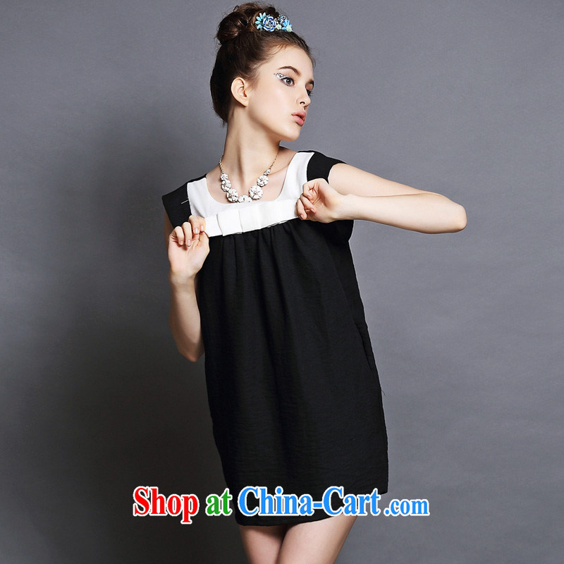 The Code's 2015 mm thick summer new and indeed increase bow-tie thick sister short-sleeved dresses black-and-white two-color 4 XL _82.5 - 90 kg_