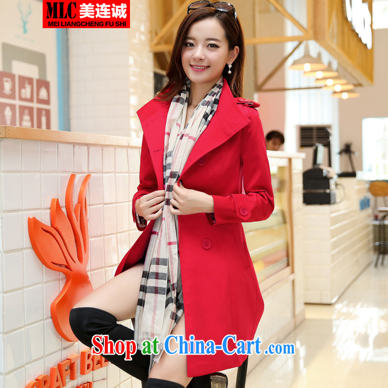 The US double-shing 2014 Autumn with new, Korean double-windbreaker, long, cultivating larger flip style lounge with belt jacket red XXXXL