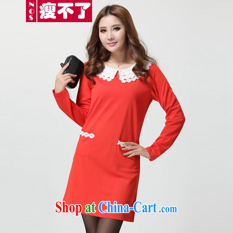 The NOS indeed XL long-sleeved lace lapel loose breathable graphics thin straight and pure cotton T shirts girls dresses D 9481 red 4 XL 180 - 200 jack wear