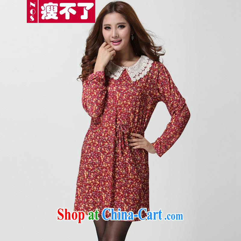 Thin (NOS) KING SIZE, female long-sleeved lace doll collar floral she begged the mother load dresses D 9521 red 4 XL 210 Jack the following wear