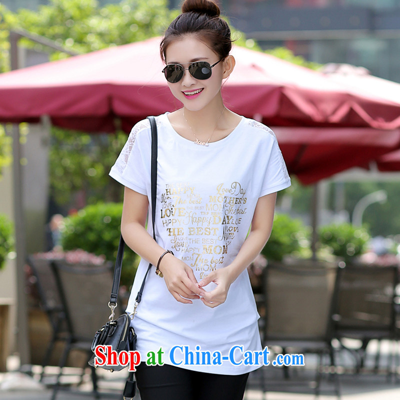 JK .,200 summer new, larger female expertise in mm long loose stamp lace stitching short-sleeved T pension 05,046 white 4 XL