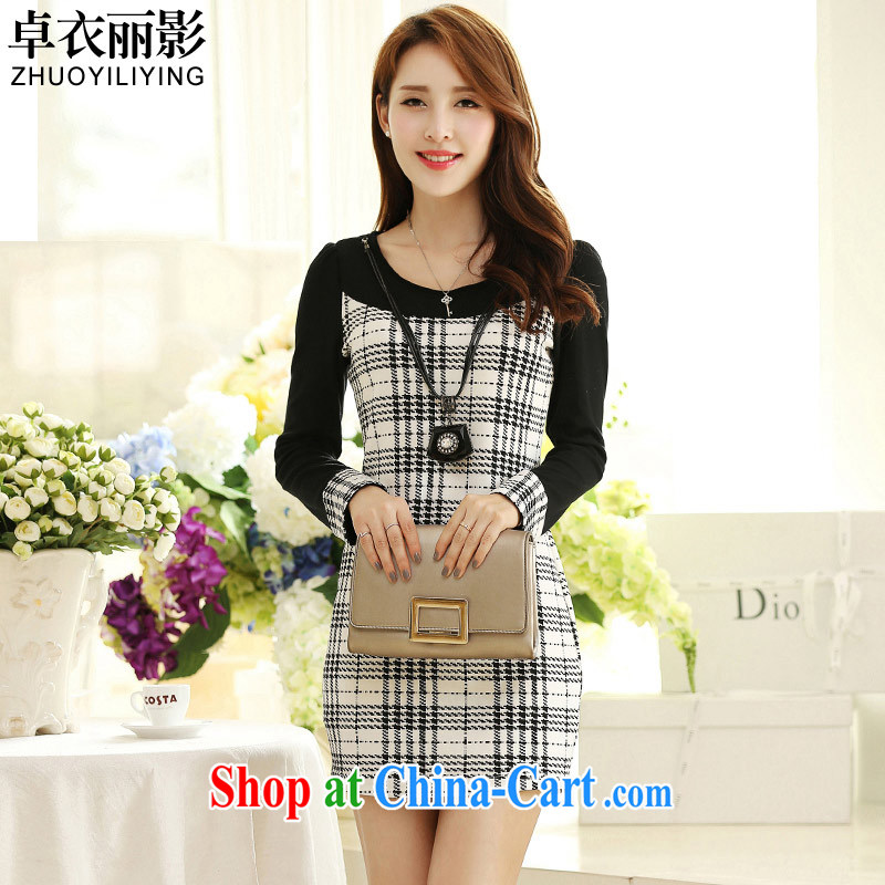 Mr Cheuk Yi Lai Ying-chiu is new, spring 2015 the code female Korean video thin beauty stitching long-sleeved dresses M 2685 2660 classic 1000 birds, 5 XL