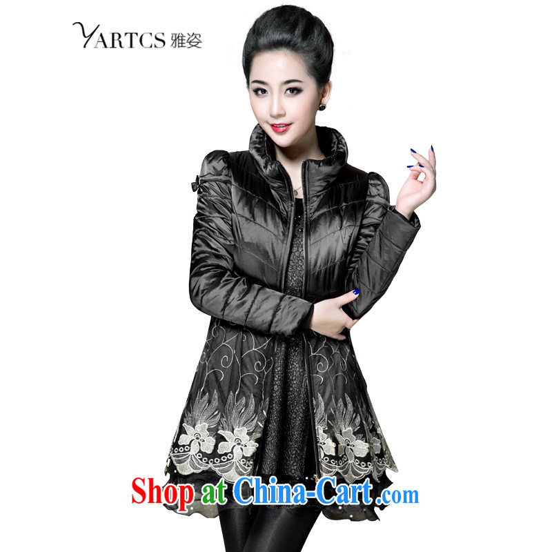 Jacob _yartcs_ larger women 2014 winter new thick mm Korea and indeed XL jacket quilted coat A 5769 black 4XL classic style small inventory