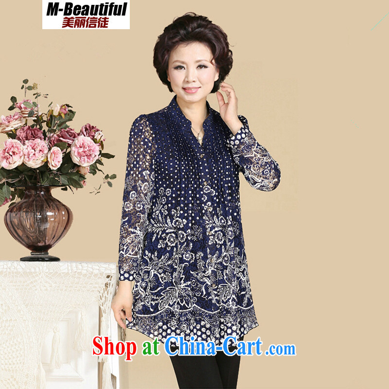2015 spring new and indeed increase, female, older women in long-sleeved sleeved stamp shirt, Mom is relaxed and elegant T-shirt lace shirt snow woven long-sleeved blue 5 XL _161 - 180 _ jack
