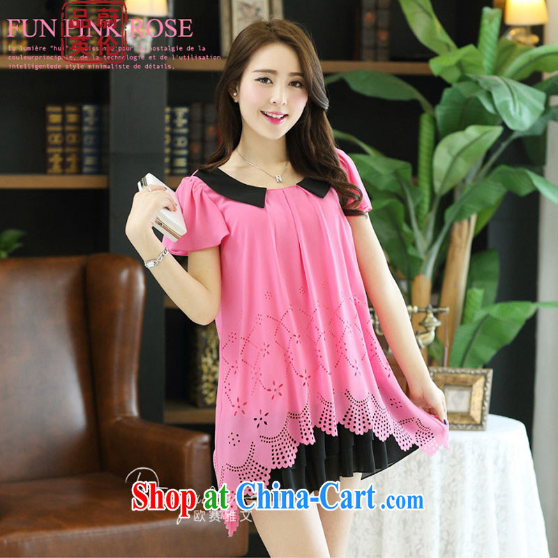 The Ulsan, England, 2015 new summer Korean lady dolls for biological Empty burning a loose the code thick MM short-sleeved snow woven dresses 6091 _the red short-sleeved XXXXL