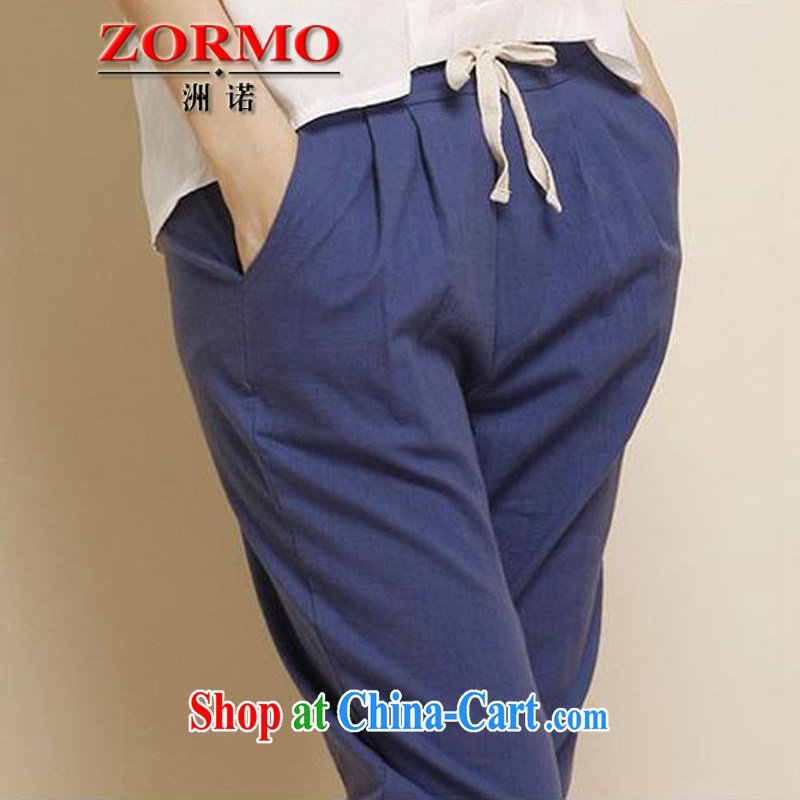 ZORMO autumn 2014 new Korean women mm thick and fat XL stretch cotton MA, casual women trousers denim blue XXL